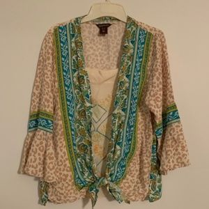 Multiples Animal Print Teal Tie Front Blouse